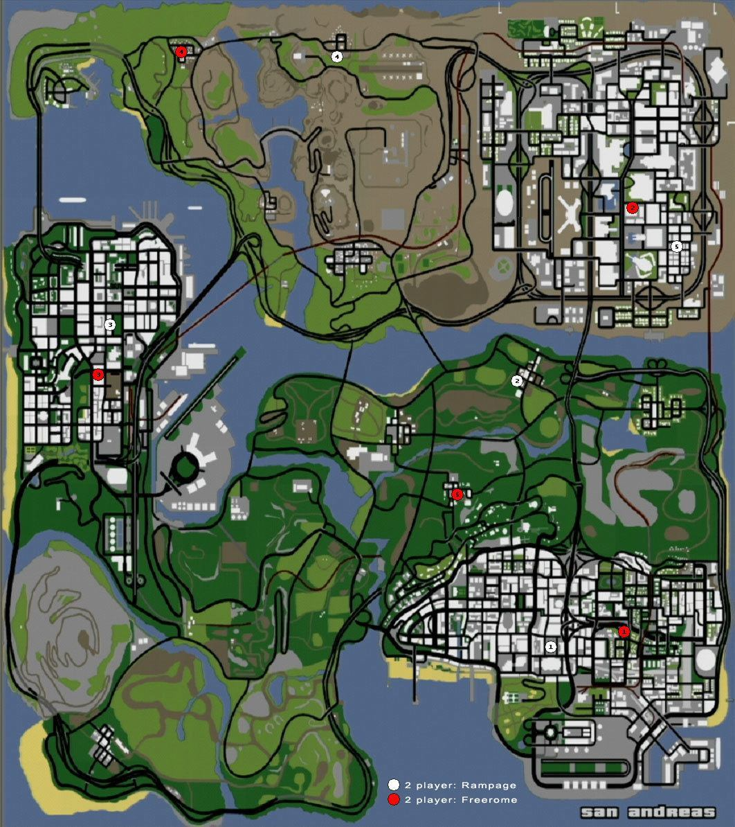 Grand Theft Auto: San Andreas (GTA) kort map